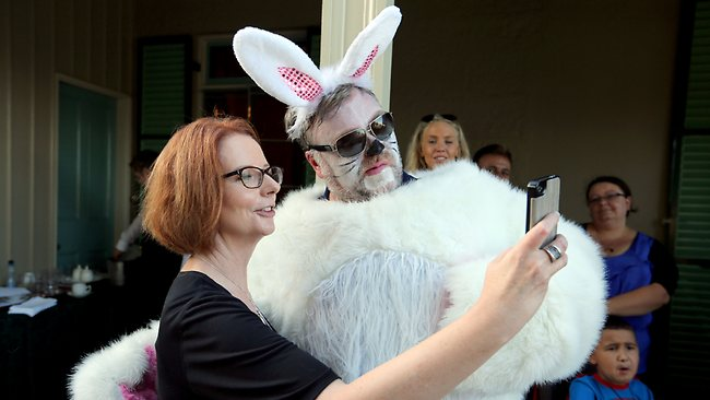 Prime Minister Julia Gillard welcomed 2Day FM crew Kyle Sandalands and Jackie O to Kirribilli House with kids from the Bear Cottage charity. Picture: Sam Mooy Source: The Daily Telegraph