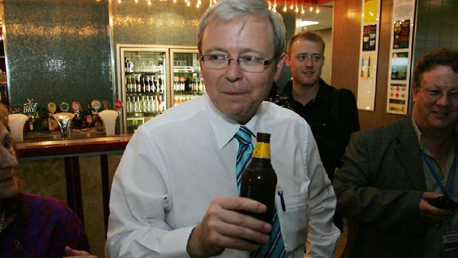 Kevin Rudd's voter support has fallen to a record low in the latest Newspoll. Source: The Sunday Mail (Qld)