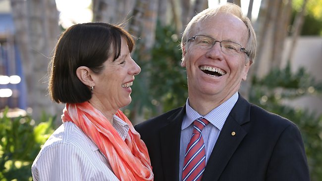 Former Queensland premier Peter Beattie, with his wife, Heather, announces his Labor candidacy for a Brisbane seat yesterday. Picture: Lyndon Mechielsen Source: TheAustralian