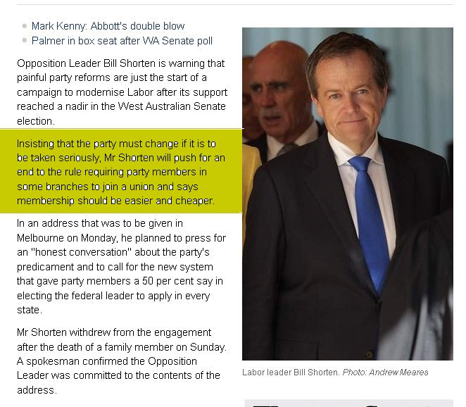 ''Tony Abbott did not put Labor in opposition, the Australian people put us here, and unless we change, it is where we will stay,'' Mr Shorten planned to say. He conceded that, for too long, Labor had seen its problems as about image, message and its ability to sell its policies. ''It's more serious than this. We need to change ourselves. We need to change our party,'' he wrote. click for source