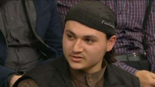 Stormed out of 'Insight': Nineteen-year-old Abu Bakr has had his passport cancelled by Australian authorities. Photo: SBS Read more: http://www.smh.com.au/national/australian-islamic-state-supporter-walks-off-the-set-of-insight-20140813-103eex.html#ixzz3ADehDB00