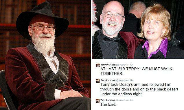 The British fantasy author (left; and with wife Lyn, top right) sold more than 85million books worldwide in 37 languages, but also waged a very public struggle with Alzheimer's disease in recent years - and was a vocal campaigner of the right to die. The writer is best known for his satirical fantasy novels set in Discworld, a flat planet resting on the back of four elephants, themselves perched on the back of a vast turtle moving through space. Sir Terry's thousands of fans on Twitter were alerted to the news of his death by a series of messages (bottom right) shortly after 3pm today, finishing with: 'The End.' Prime Minister David Cameron said today he was 'sad to hear' of the death, adding: 'His books fired the imagination of millions and he fearlessly campaigned for dementia awareness.'